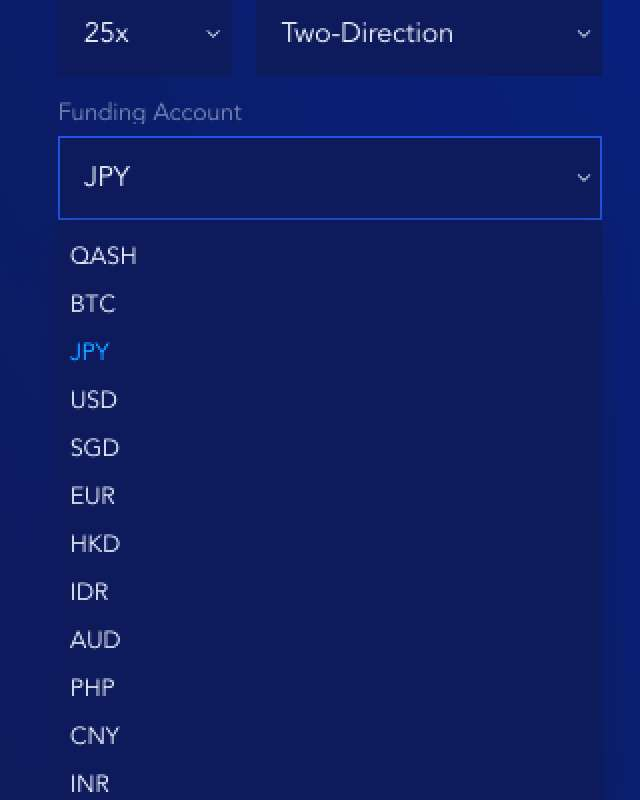 Funding Currency Options Screenshot