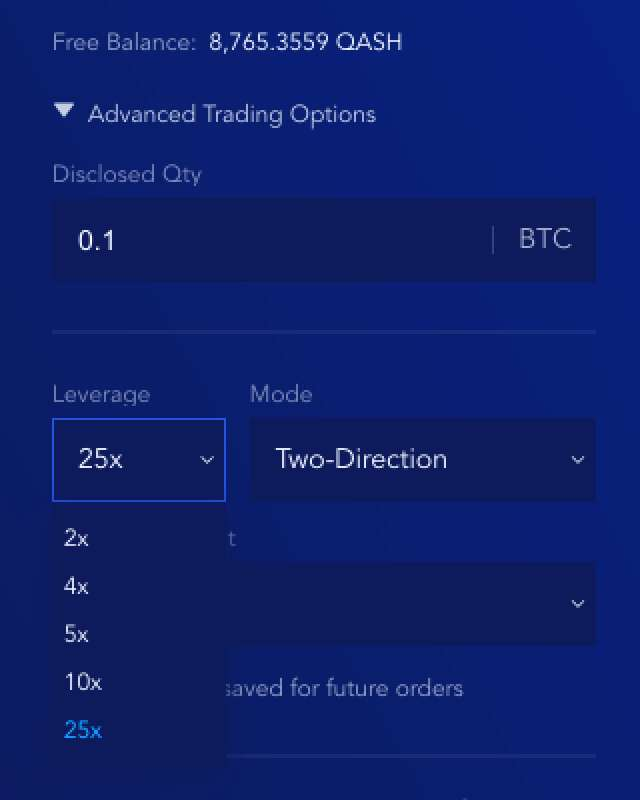 Leverage Option Screenshot