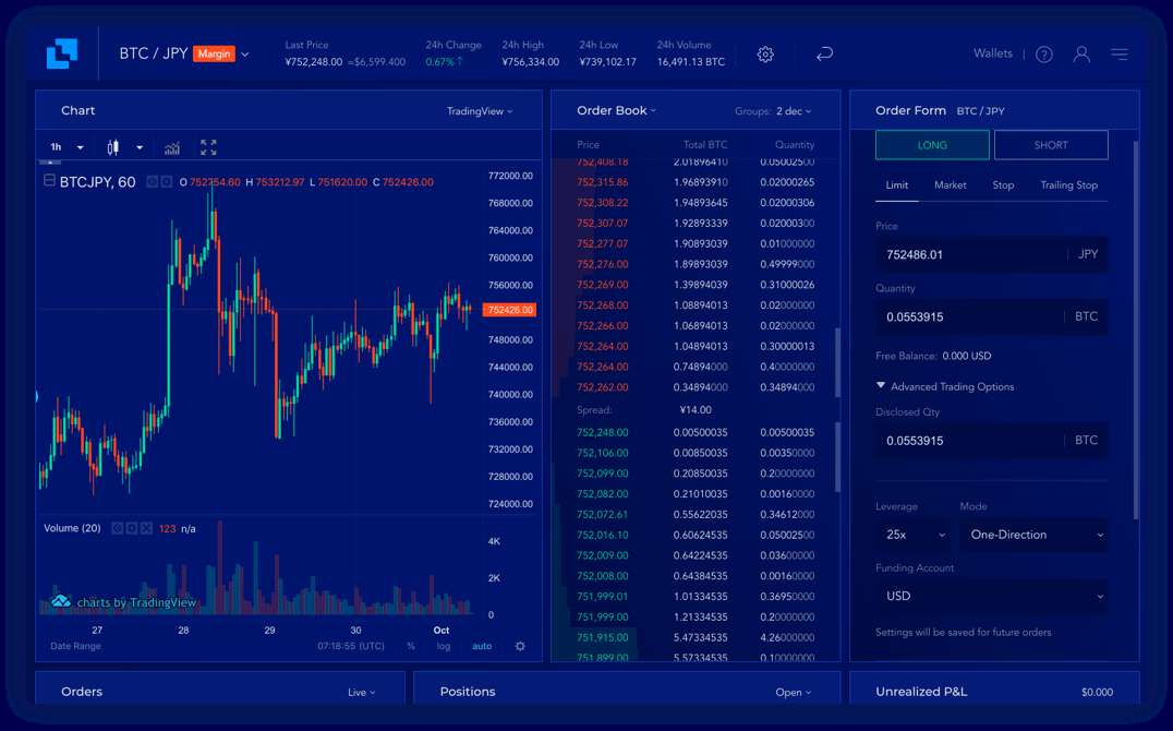 Margin Trading Dashboard Screenshot